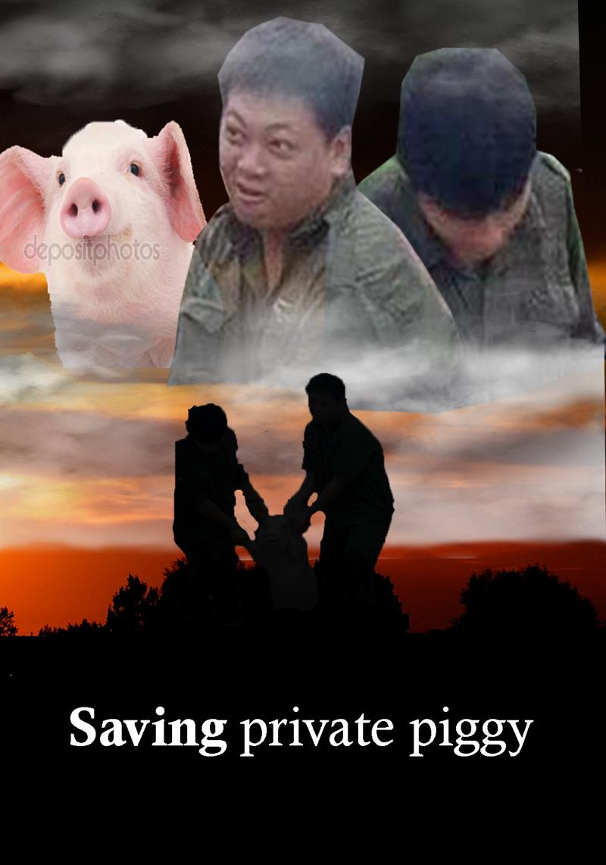 Спасти рядовую свинку забавно, наводнение, прикол, свинья, улыбка, фотожаба, фотошоп, юмор