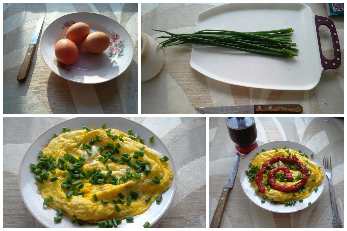 Завтрак за 25 рублей - 3 яйца, зеленый лук, кетчуп. Перемешать яйца, в микроволновку, посыпать луком, полить кетчупом блюда, вкусно, дешево, еда, полезно, рецепты, экономия