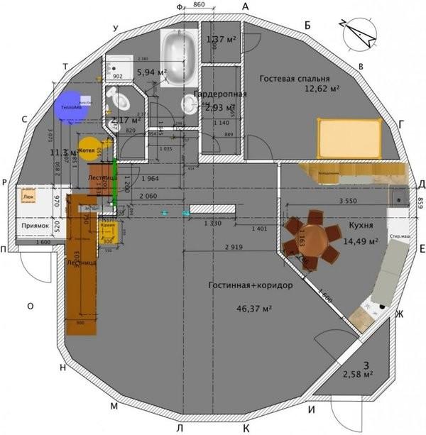 Общая планировка здания (сохранена пунктуация автора) Купольный дом, строительство, фишки-мышки