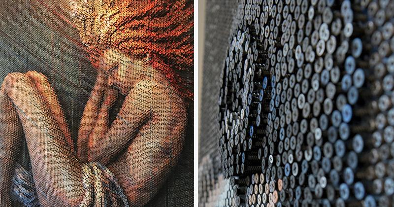 Прекрасные женщины Брюса Макли из 20000 шурупов красиво, креатив, необычно, портрет, ручная работа, своими руками, творчество, фото