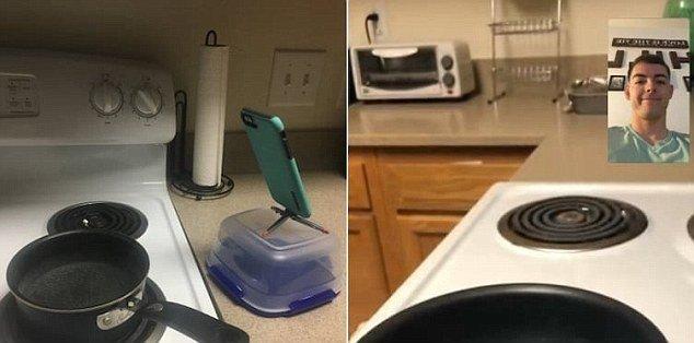 Стоять и ждать, пока вода закипит, так утомительно. А этот парень придумал выход: он наблюдает за плитой по Фейстайму, удобно расположившись в другой комнате на диване. Гений! готовка, готовка еды, лайфхаки, на кухне, полезные советы, советы, советы бывалых