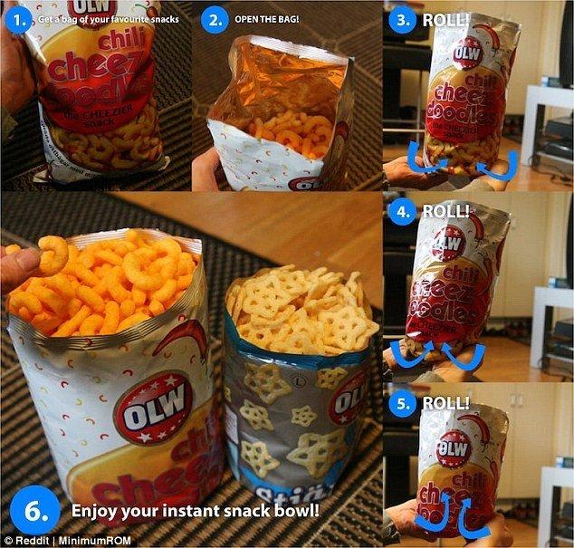 Оказывается, из упаковки чипсов или снэков вполне можно сделать устойчивую тару, если подвернуть нижнюю часть упаковки. Тогда не понадобится их пересыпать в отдельную посуду. готовка, готовка еды, лайфхаки, на кухне, полезные советы, советы, советы бывалых