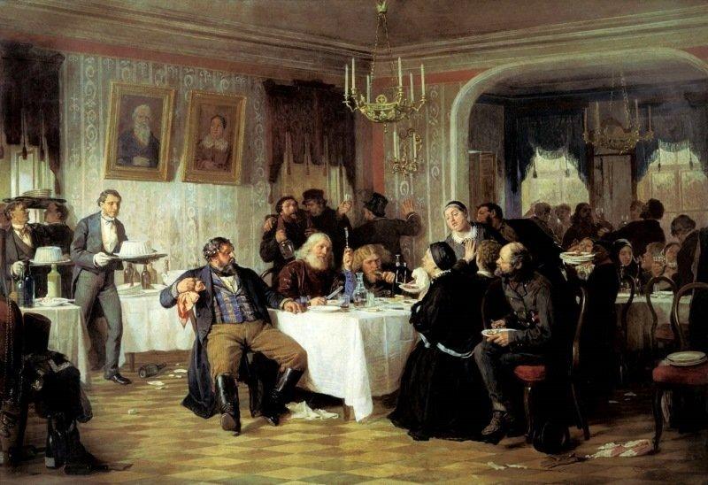Фирс Журавлев — «Купеческие поминки» (1876 год)   интересное, искусство, картины