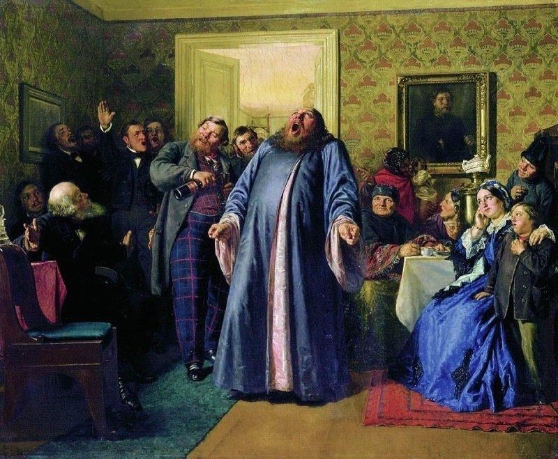 Николай Неврев — «Протодиакон, провозглашающий на купеческих именинах долголетие » (1866 год) интересное, искусство, картины