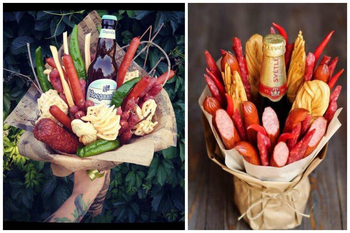 Цветов, букет из колбасы и пива фото