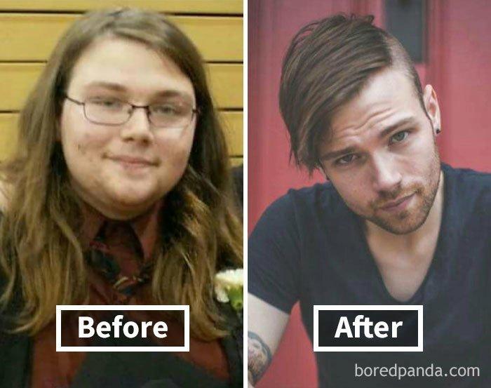 Похудение лица до и после