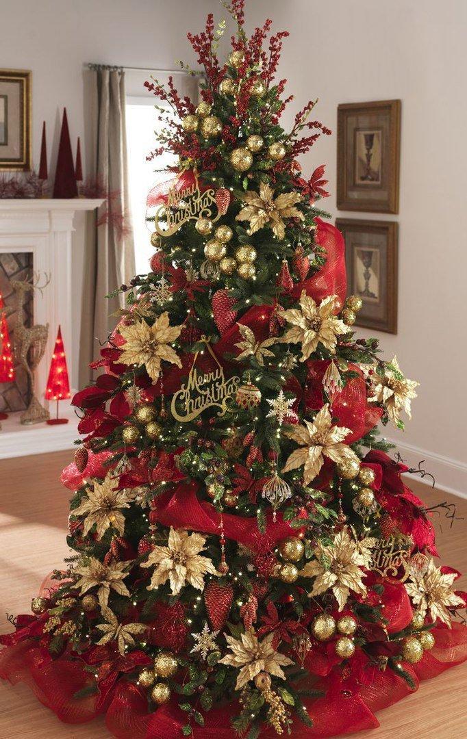 немногих украшение елки цветами фото красоте