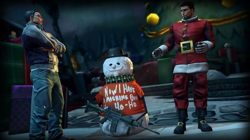 Снеговик из игры Saints Row IV зима, креатив, новый год, снег, снеговик, творчество, фото, юмор