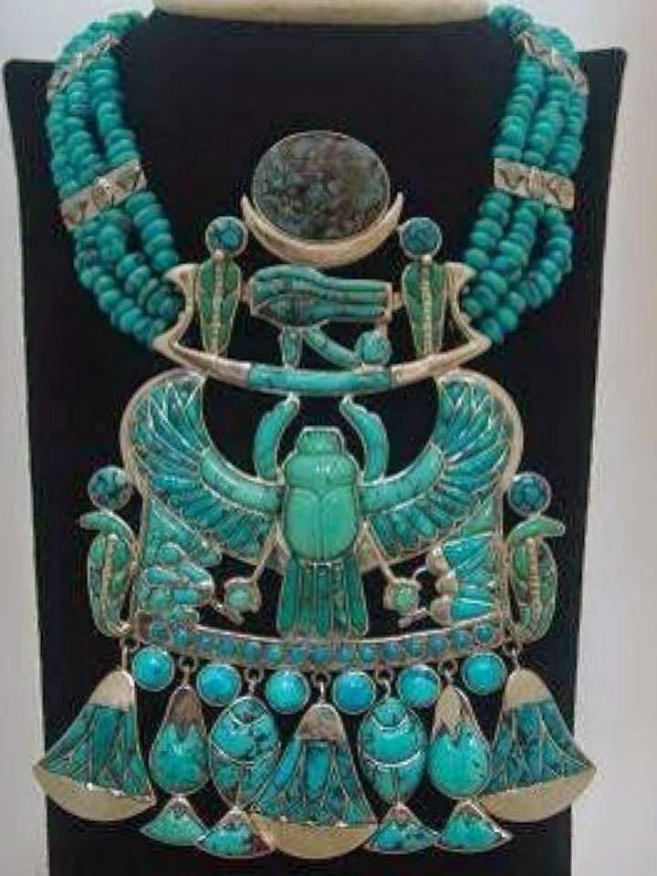 Нагрудное украшение из бирюзы древний египет, искусство, красота, невероятное, удивительное, ювелирное