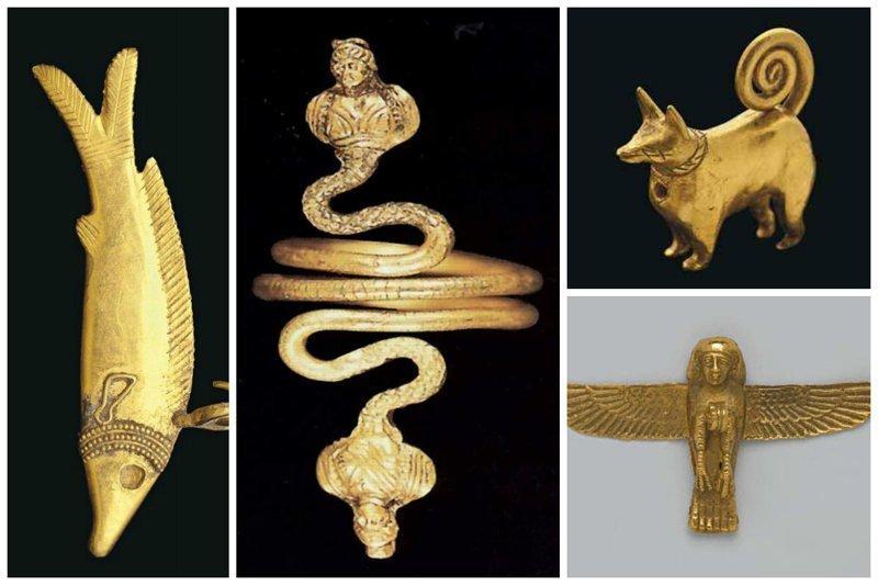Золотые амулеты и браслет знати древний египет, искусство, красота, невероятное, удивительное, ювелирное