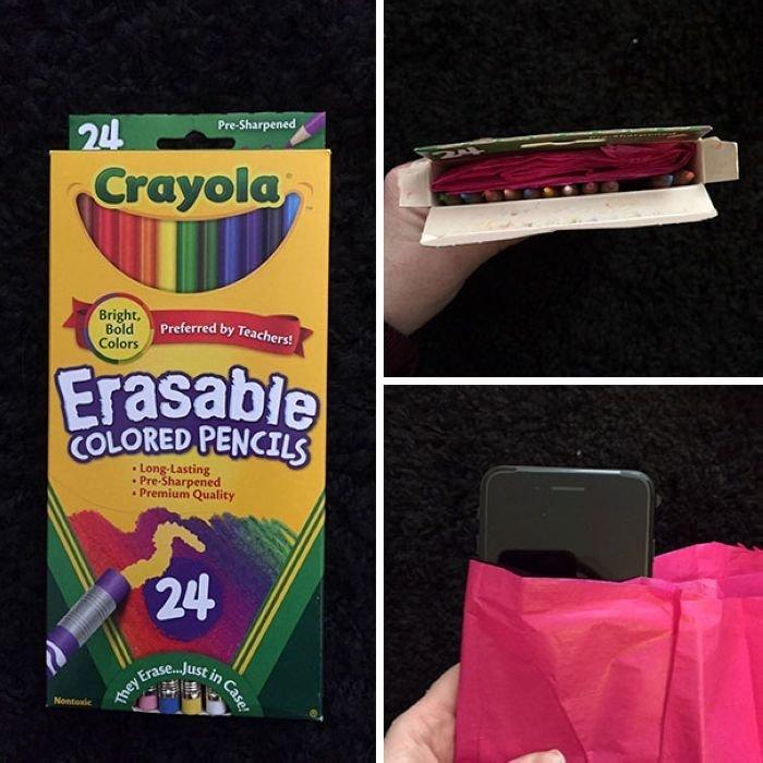 """""""Мой муж всегда получает цветные карандаши на день рождения и Рождество, и он ненавидит их, потому что он дальтоник. Он всегда хотел IPhone, поэтому я купила его ему, завернув таким образом"""" забавно, новый год, подарок, тролль, упаковка, юмор"""