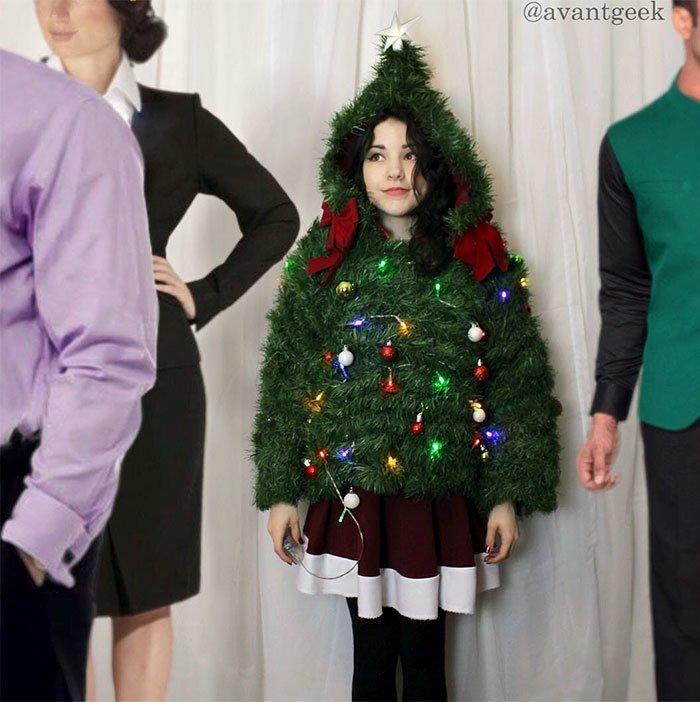 Оливия любит оригинальничать. Вот её рождественский свитер: дизайнер, красиво, креатив, оригинально, платье, своими руками, творчество, фото