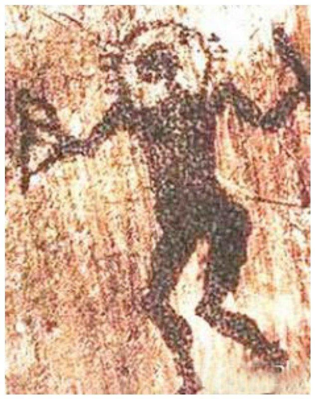 """Некоторые считают, что знаменитый петроглиф """"Человек-солнце"""", найденный близ Алматы, является наскальным портретом инопланетянина. археология, загадки, нло, предки, рисунки, тайны, ученые, фрески"""