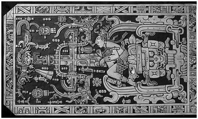 Крышка саркофага племени Майя. Ученые утверждают, что цивилизация майя знала и общалась с внеземными цивилизациями археология, загадки, нло, предки, рисунки, тайны, ученые, фрески