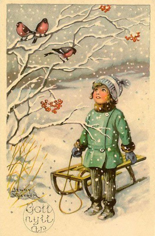 Старые открытки дети зима