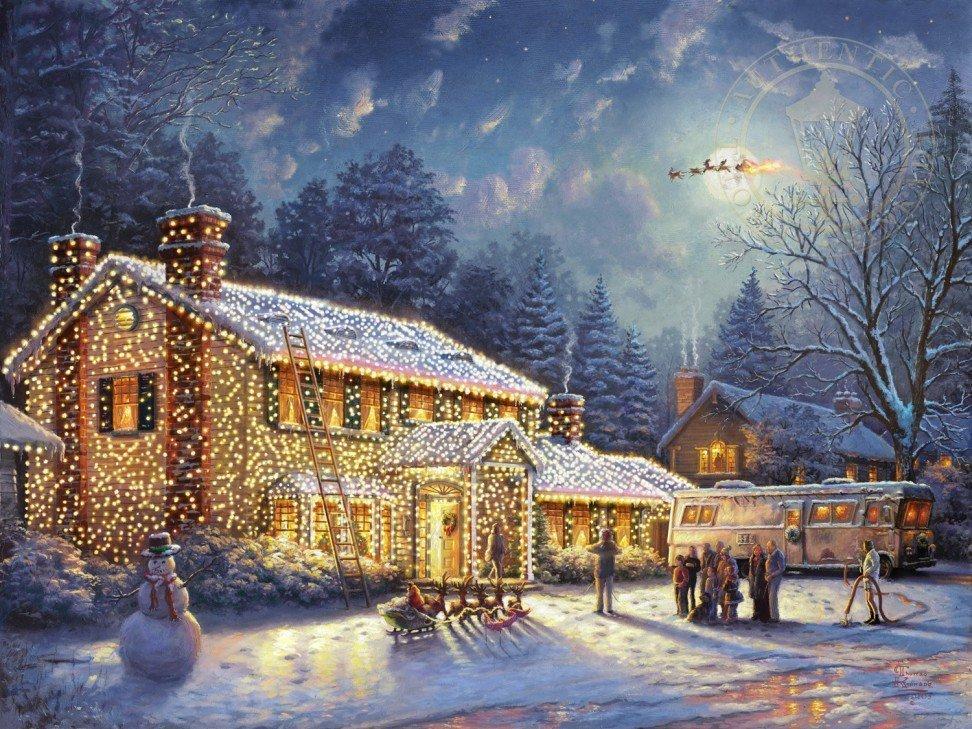 Годовщиной, новогодние домики томас кинкейд картинки
