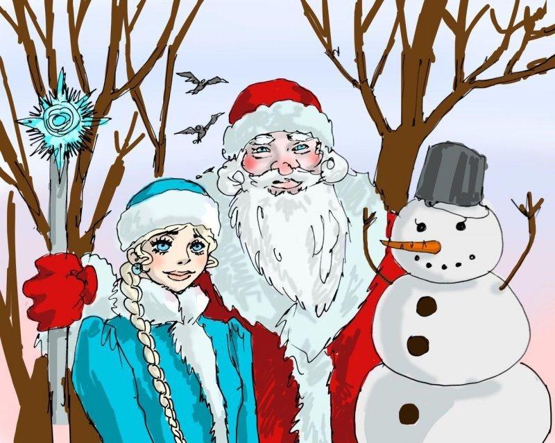 Дед Мороз и сопровождающие его лица дед мороз, интересно, миф, новый год, сказка, сказки, сказочный персонаж, снегурочка
