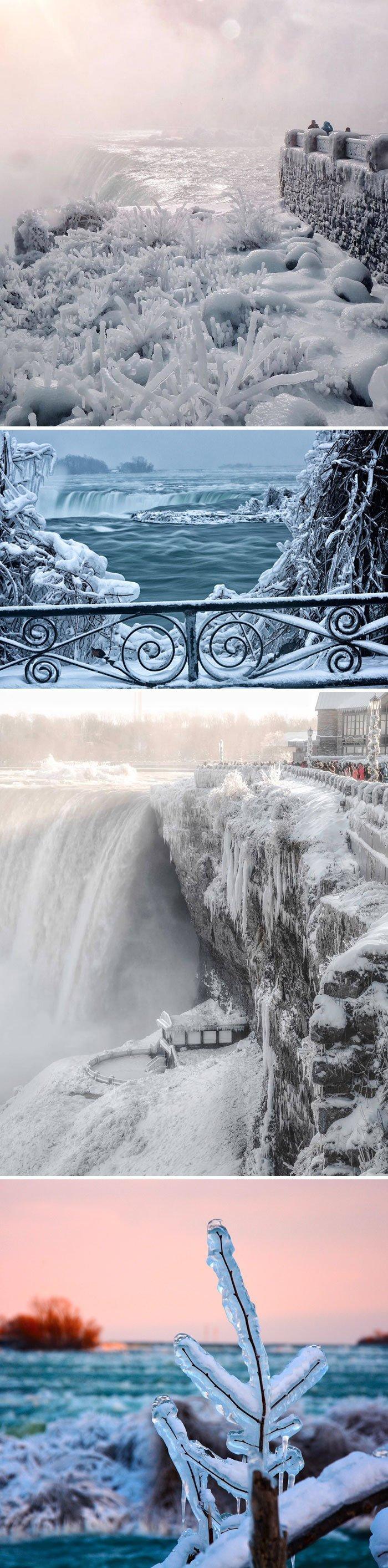 4. Ниагарский водопад замерз канада, мороз, погода, сша, фото, холод, явление