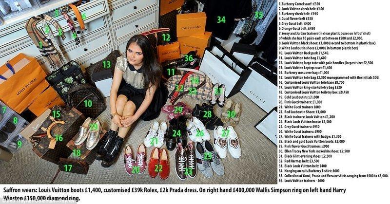 На Саффрон ботинки Louis Vuitton за £1400, кастомизированные часы Rolex за £39 000, платье Prada за £2 000. На правой руке кольцо Wallis Simpson за £400 000, на левой - бриллиантовое кольцо Harry Winston за £150 000 Отцы и дочери, великобритания, геи, миллионеры, однополый брак, отцы и дети, суррогатные дети