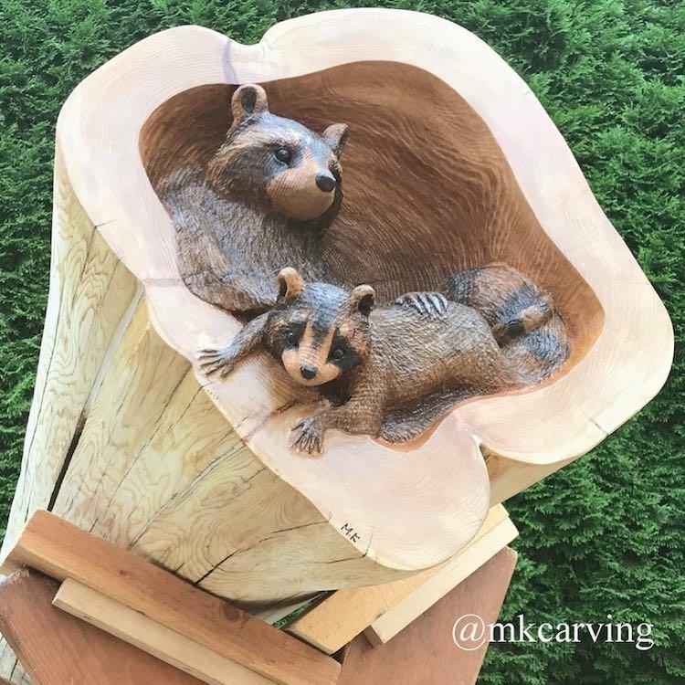 Художник делает скульптуры из поваленных деревьев анимализм, животные, искусство, красота, природа, резьба по дереву, творчество, художник
