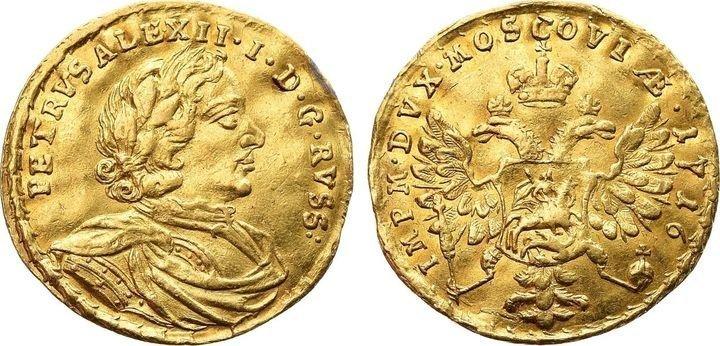 Червонец Петра I, 1716 г. – продан за 120 тысяч долларов (7,1 млн рублей) Клады, всячина, золото, интересное, истории, находки, удача