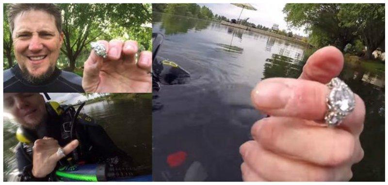 Райан из штата Айдахо, США нашел в местном озере колечко с бриллиантами, стоимостью 50 тысяч долларов Клады, всячина, золото, интересное, истории, находки, удача