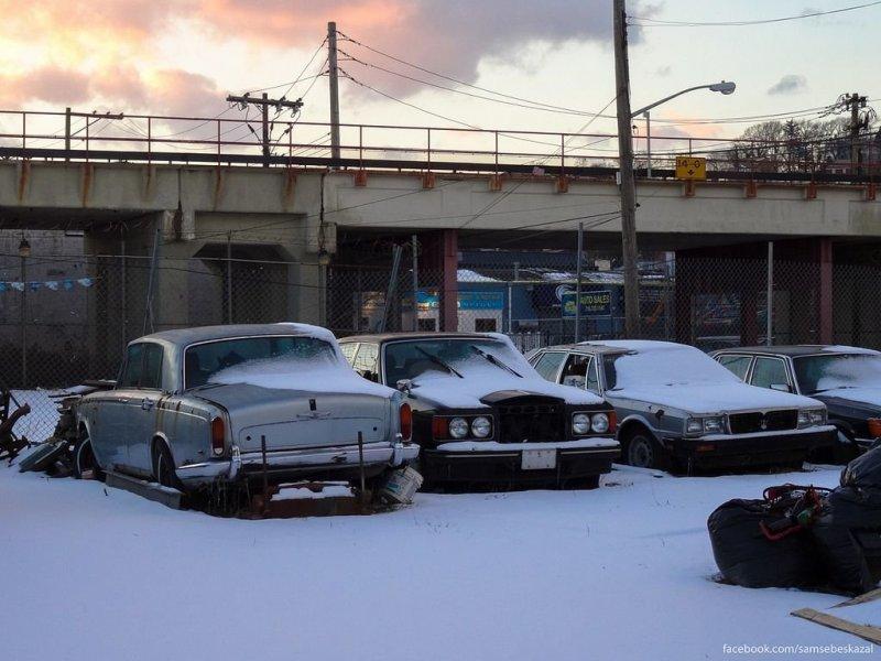 Не подававшая признаков жизни парковка на Статен-Айленде. америка, нью-йорк, олдтаймер, ретро авто, ретро автомобили, сша, фото, фотографии