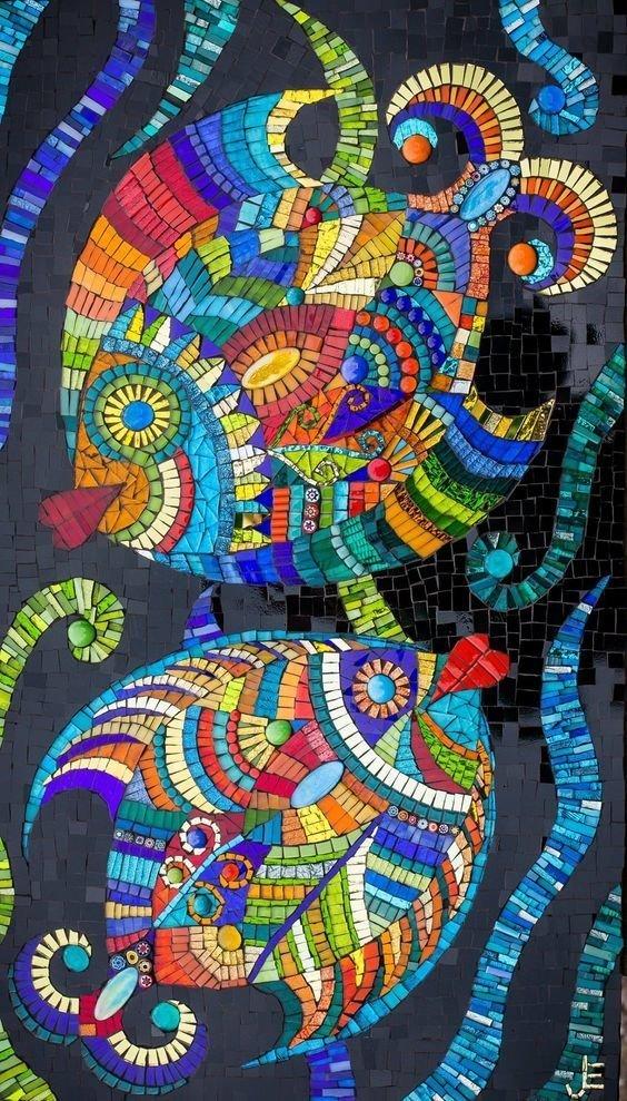 Рыбки Фабрика идей, интересное, красота, мозаика
