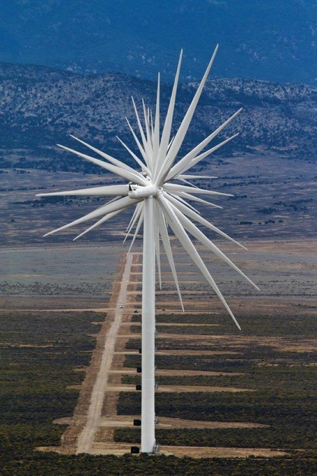14 ветрогенераторов в ряд необычные вещи, прикол, фото