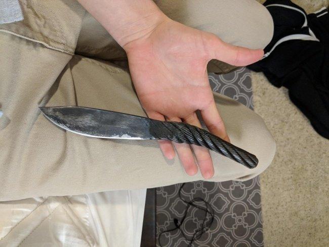 Нож, сделанный из троса, который использовался для строительства моста Золотые Ворота в Сан-Франциско необычные вещи, прикол, фото