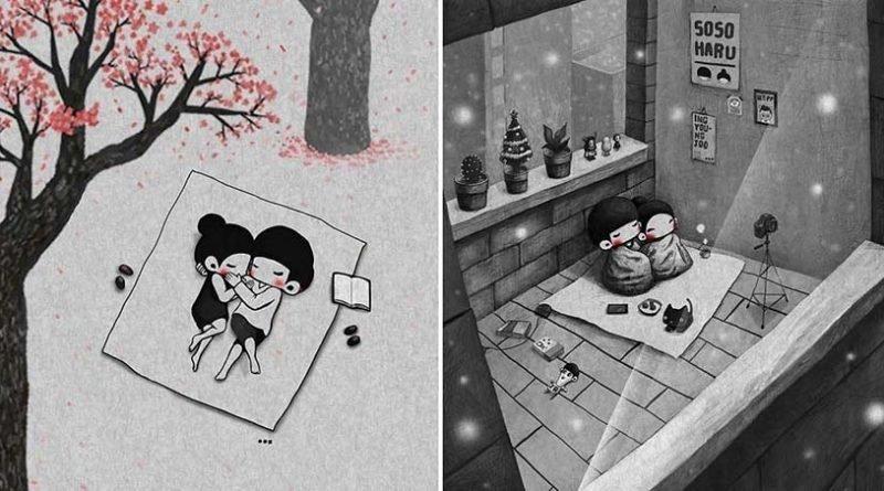 Маленькие милые моменты из жизни супругов, которые создаёт корейский иллюстратор иллюстратор, корея, милота, моменты жизни, отношения, семья