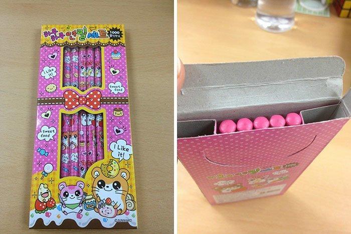 Вот она перед вами, коробка с карандашами аферисты, введение в заблуждение, жулики, жульничество, покупатели, потребители, товары и услуги, упаковка