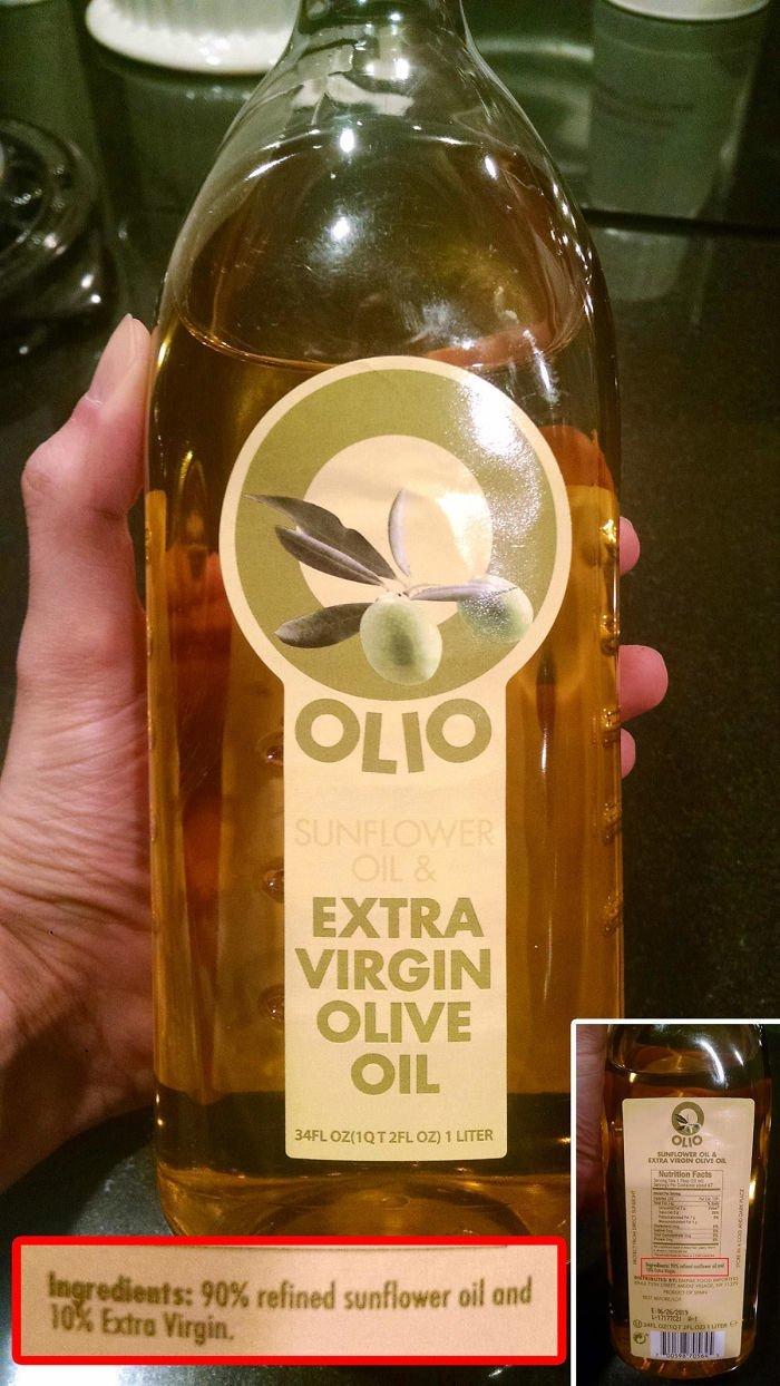 Оливковое масло. Инредиенты: 90% подсолнечного, 10% оливкового масла аферисты, введение в заблуждение, жулики, жульничество, покупатели, потребители, товары и услуги, упаковка