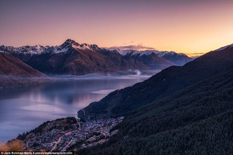 Град Куинстаун, Нова Зеландия. Изглед от планината Бен Ломънд. в света, красиви снимки, красива гледка, пейзажи, природа, пътуване, снимки, фотографи