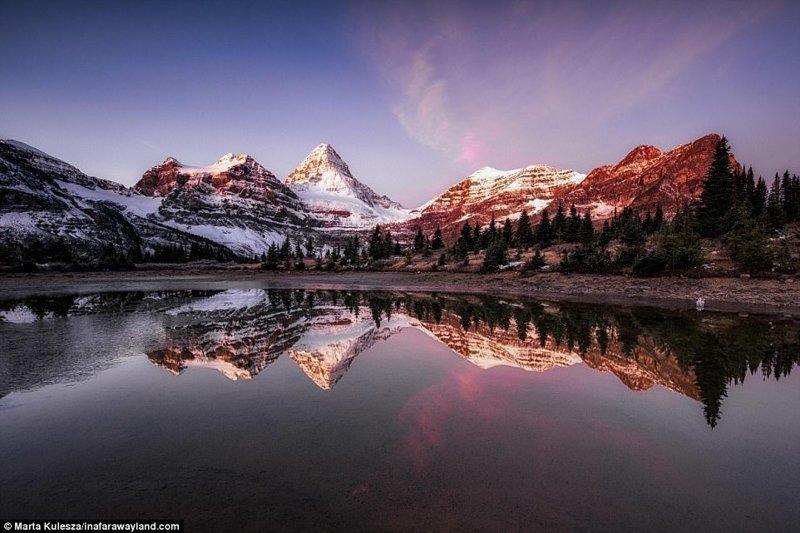 Mount Assiniboin и езерото Магог, Канада по света, красиви снимки, красива гледка, пейзажи, природа, пътуване, снимки, фотографи