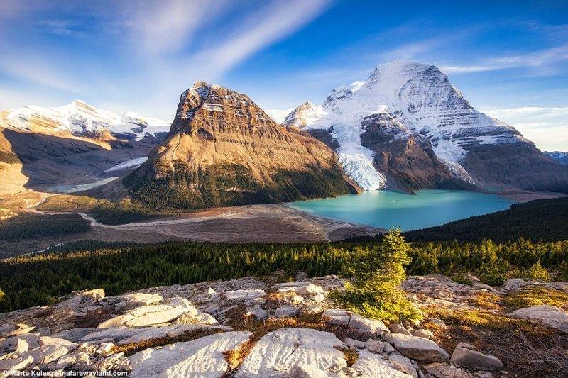 Езерото Берг в Канада и зад - планината Робсън в света, красиви снимки, красива гледка, пейзажи, природа, пътуване, снимки, фотографи