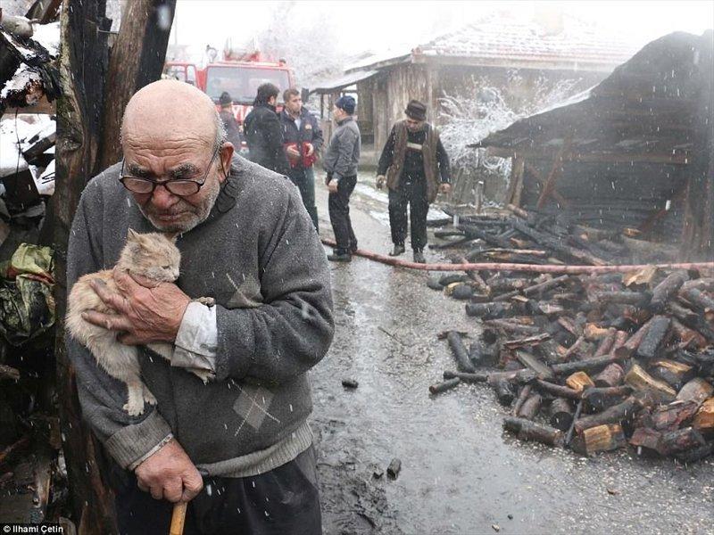 Человек, который потерял в пожаре все, кроме доброго сердца ynews, доброта спасет мир, котенок, огонь, погорельцы, пожар, трагедия, турция