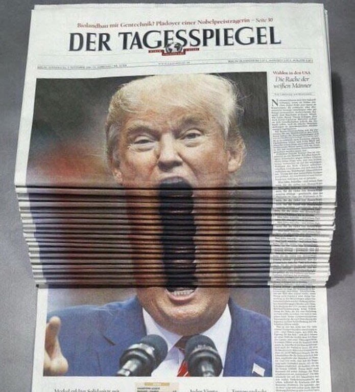 Так выглядит оригинал Дональд Трамп, битва, газета, снимок, тролль, фото, фотошоп