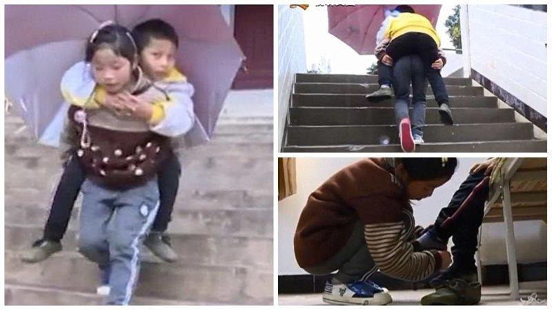 9-летняя китаянка каждый день носит своего брата-инвалида в школу Любовь, вот это да!, героиня, инвалид, китай, самоотверженность, семья, сестра