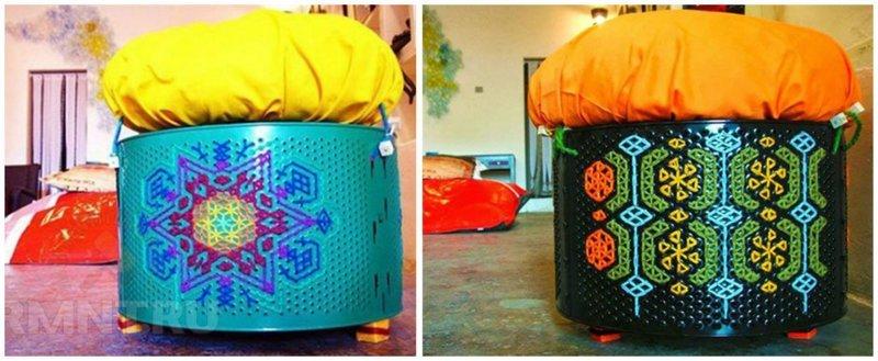 А это уже по-настоящему дизайнерские пуфы с этнической росписью по корпусу Фабрика идей, лайфхаки для дома и сада, переделки, своими руками, стиральная машина