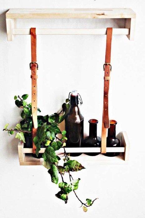 4. Полки из кожаных ремней относят к скандинавскому стилю Стиль, дизайн, мастер на все руки, новая жизнь старых вещей, переработка, ремни, своими руками, сделай сам