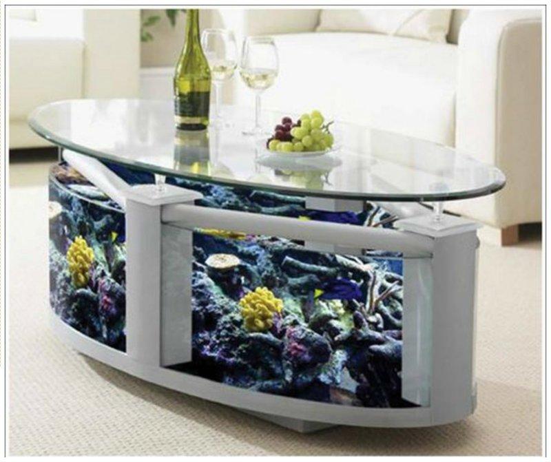 Начнем с более привычных, но не менее интересных, аквариумов в интерьере. Аквариумы столы Фабрика идей, аквариумы, виды, красота, невероятно, фантазия