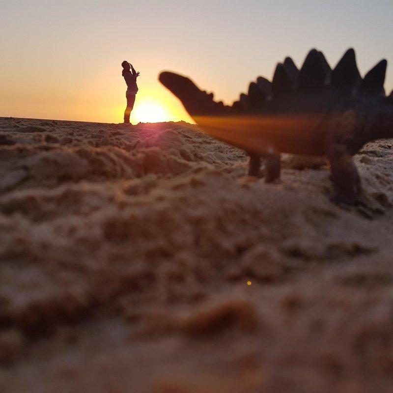 Фото с динозавром день, животные, кадр, люди, мир, снимок, фото, фотоподборка