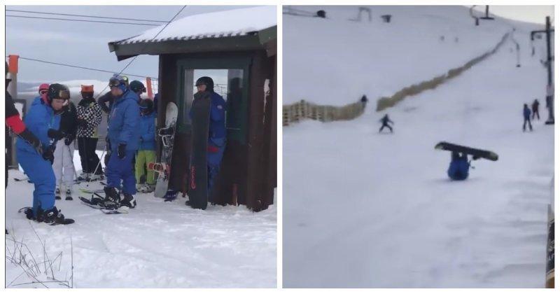 Когда с друзьями первый раз встал на сноуборд в мире, видео, друзья, люди, прикол, сноуборд, спорт