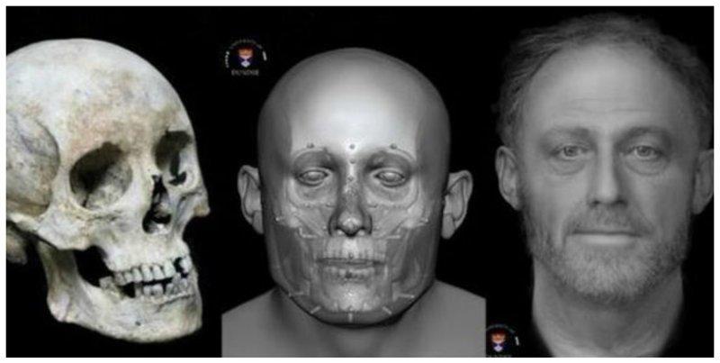 Лицо средневекового человека (13 век н.э.), погребенного на кладбище у больницы. Англия, Кембридж антропологическая реконструкция, восстановление, люди прошлого, наука, черепа