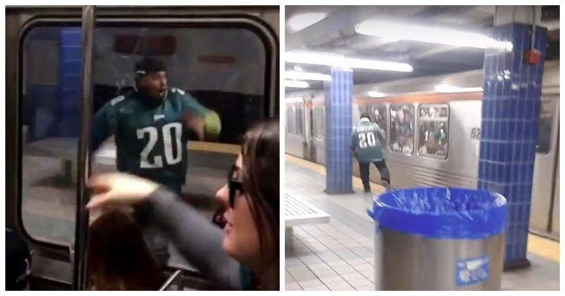 Болельщик был так доволен победой своей команды, что догоняя поезд, не заметил столб видео, метро, неудача, поезд, прикол, спорт, фанат, юмор
