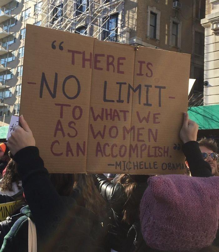 """""""Женщины могут добиться всего. Границ для нас нет!"""" Мишель Обама"""" ynews, вашингтон, женский марш, наглядная агитация, новости, нью-йорк, оригинально, сша"""