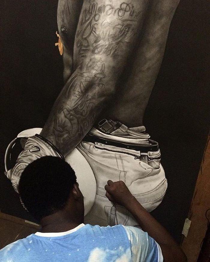 """""""На космическом корабле"""" искусство, карандаш, картина, нигерия, портрет, реализм, художник"""