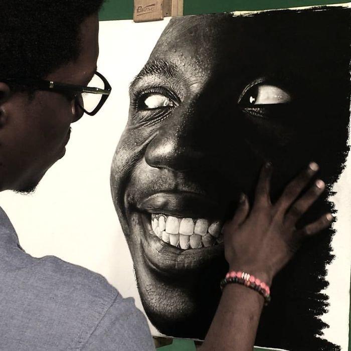 """""""В разгар рецессии"""", 2015 искусство, карандаш, картина, нигерия, портрет, реализм, художник"""