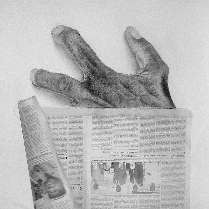 """В клочья"" искусство, карандаш, картина, нигерия, портрет, реализм, художник"